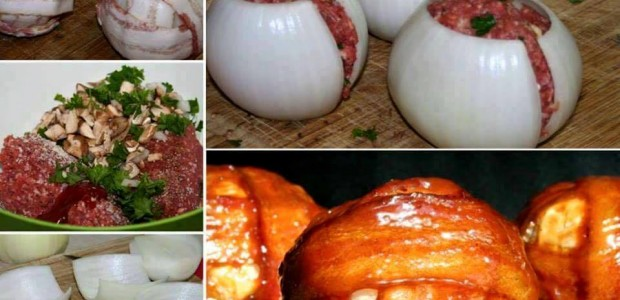 Cebolas Recheadas com Carne Moída e Bacon