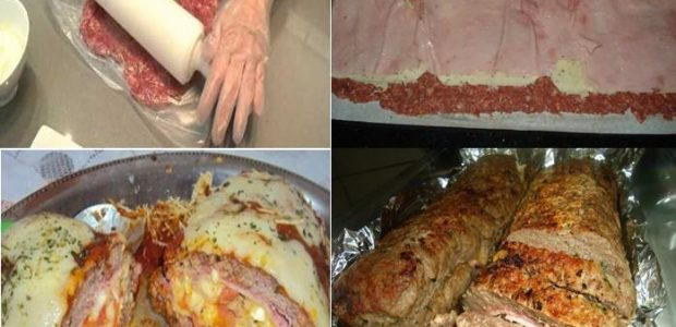 Rocambole de carne moída com queijo e presunto