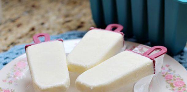 Picolé caseiro de leite em pó