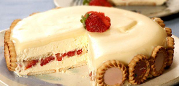 Torta holandesa de morango e chocolate branco